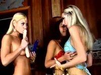 Индианка с двумя блондинками ласкается