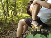 Мужик в парке трахает толстую шалаву