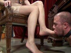Раб вылизывает любимые ножки госпожи
