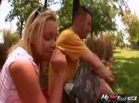 Пикник разгорячил анальное желание блондинки